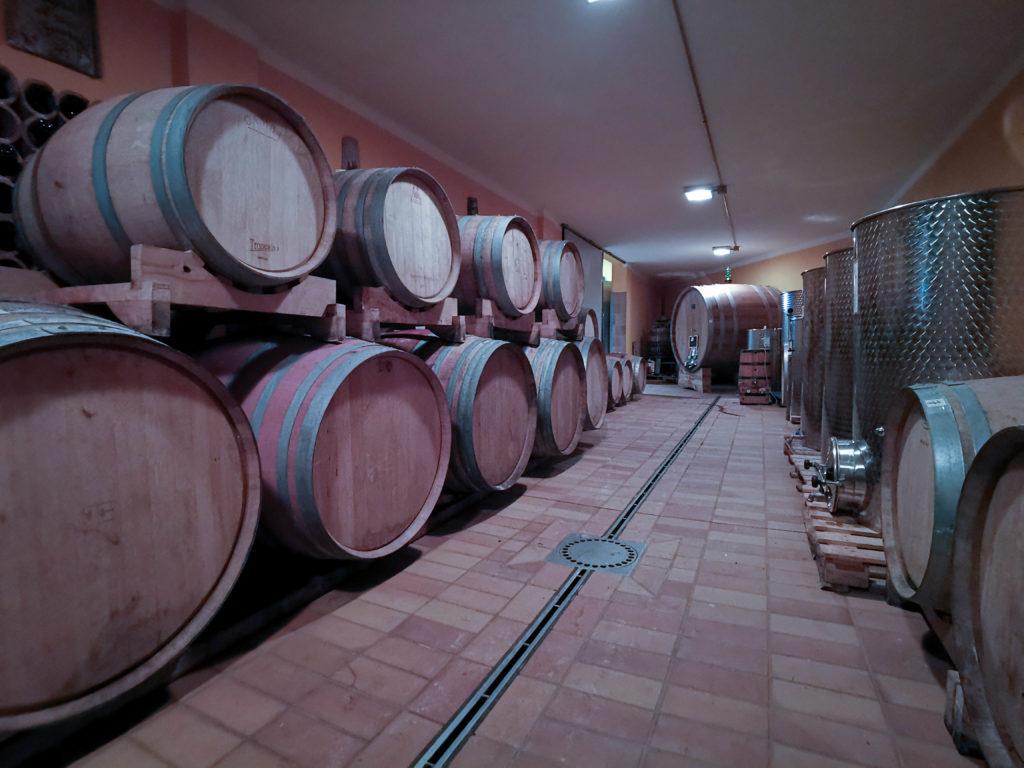 Zona della cantina dedicata alla maturazione dei vini Zazzera, con grandi botti di rovere e contenitori di acciaio ai lati della stanza.